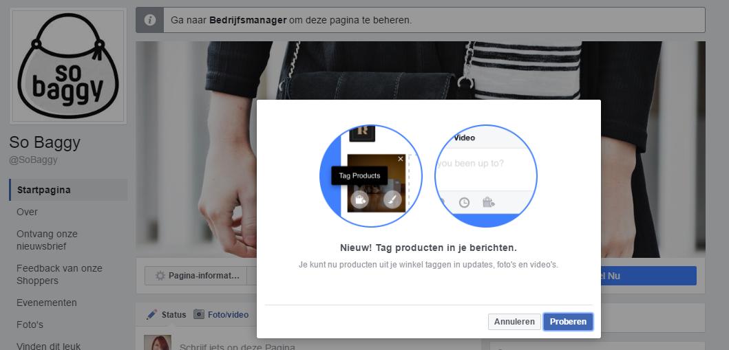 Producten taggen op Facebook