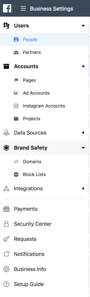 Kies Domains in het menu Brand Safety